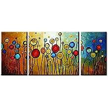 IPLST@ Grande pittura su tela astratta Fiori olio Immagini per pareti, dipinto a mano moderna - Set di 3 (Nessuna cornice, senza barella)