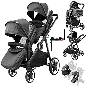 iSafe Me&You Inline Tandem - with Second Seat, X2 Car Seats & X2 Isofix - Black   5