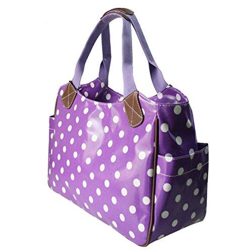 Miss Lulu Damen Wachstuch Handtasche Schultertasche Einkaufstasche Tasche Shopper Gepunktet Eule Blumen Schmetterling Gepunktet Lila