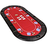 Classic Folding Poker Table Top in Red Suited Speed Cloth and Bag - 200cm