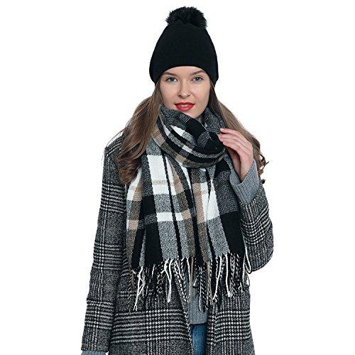 DonDon Bufanda de invierno a cuadros grande Oversize para mujers suave y cálida escocesa escocés 185 x 65 cm negro - blanco - marrón