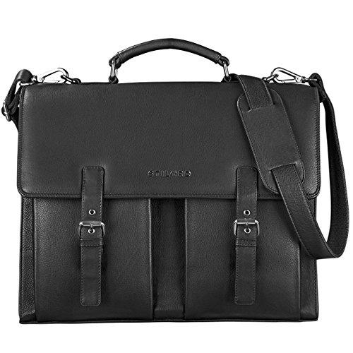STILORD \'Constantin\' Vintage Lehrertasche Aktentasche Herren Damen Bürotasche Hauptfach für 15.6 Zoll Laptop Umhängetasche groß Leder, Farbe:schwarz