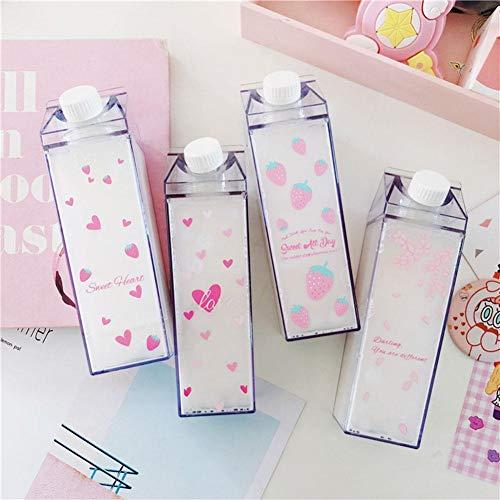 Sakura Milchbecher Tragbare Wasserflasche Milchaufbewahrung Sakura-Print Erdbeer-Print Sportgetränk Klare Tasse Milchbox Quadratische Tasse Für das Büro zu Hause