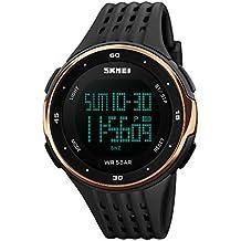 CIVO Relojes de los Hombres Chicos Electrónico 50m Impermeable Militar Reloj Deportivo LED Luz Reloj de Buceo para Hombre Multifunción Digital Relojes Dial Oro Rosa Correa de Goma