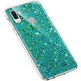 Uposao Kompatibel mit Huawei Honor Play Handyhülle Glänzend Glitzer Bling Strass Kirstall Schutzhülle Durchsichtig TPU Silikon Case Transparent Crystal Clear Hülle TPU Rückschale Etui,Grün