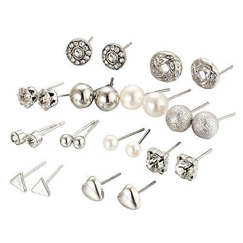 12 Paar Pack Ohrstecker Sets, Zirkon Kristall Herz Dreieck Diamant Ohrringe Ohrschmuck, Sortierte Mehrere Stud für Frauen Mädchen - Silber - Kristall-herz-bolzen-ohrringe