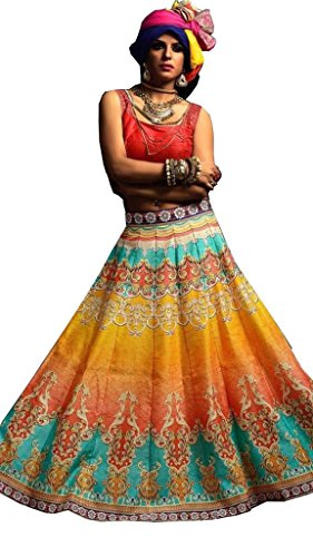 Indian Designer Bollywood Collection New Arrival Party Wear Orange Color Lehengas Lehenga...
