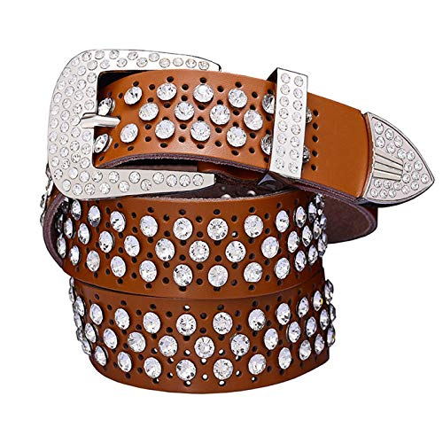 PmseK Gürtel Damen Herren Fashion Rhinestone Cow Genuine Leather Belts For Women Luxury Pin Buckle Woman Belt High Quality Waist Strap For Jeans Female Brown C 95cm