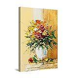 Startonight Quadro su Tela Pittura Astratta del Vaso dei Fiori di Rosso della Decorazione Marrone, Quadri Moderni Stampe Camere da Letto 60 x 90 cm
