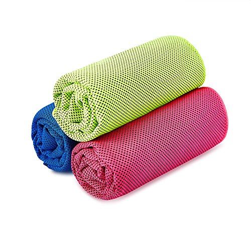 Handtücher Schnelltrocknende Kühltuch Mikrofaser Sporthandtuch Strandhandtuch Cooling Towel für Yoga Fitness Golf Tennis & Sports 3 Stücke(Rose grün blau,36 x 12