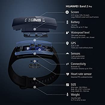 Huawei Band 2 Pro Fitness-tracker (Gps, Bluetooth, Herzfrequenzmessung, Wasserdicht Bis 5 Atm) Schwarz 4
