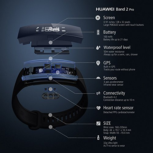 51txaK97oUL. SS500  - Huawei Band 2 Pro Fitness Wristband Activity Tracker - Black (Built-in GPS, Up to 21 days usage)