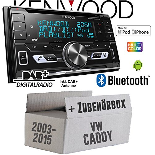 Autoradio Radio Kenwood DPX-7100DAB - 2DIN Bluetooth DAB+ Digitalradio USB CD MP3 Einbauzubehör - Einbauset für VW Caddy 2K - JUST SOUND best choice for caraudio Din Radio Block