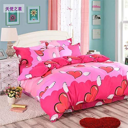 ter Stars Bettwäsche Heimtextilien, 3/4 Pc Bettwäsche Bettbezug Sets Bett Tröster Prinzessin Bettwäsche Set Bettbezüge Bettwäsche-Sets (Color : Red, Size : King) ()