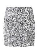 kayamiya Damen Minirock mit Pailletten Sparkle Stretchy Bodycon Kurze Club-Bleistiftröcke L/40-42 Silber