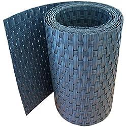 workingHOUSE® Polyrattan-Sichtschutzstreifen, Sichtschutz für Doppelstabmatten Zaun, 19 x 250 cm (Anthrazit)