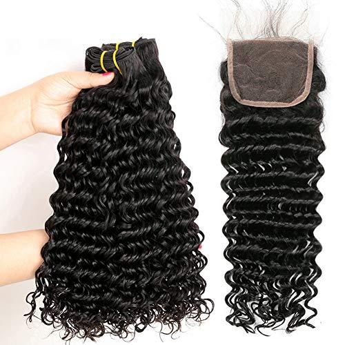Yavida extension capelli veri capelli umani brasiliani con la chiusura extension tessitura capelli veri ricci naturale brasiliani dell'onda profonda human hair colore naturale 12 14 16+10 pollice