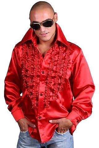 Schlagerhemd rot (XXXL, Rot) (80er Ära Kostüme)