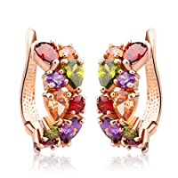 Rose Gold Plated Swarovski Crystal Element CZ Cubic Zirconia Multi-color Mona Lisa Stud Earrings for Women Girls