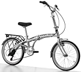 """Cicli Cinzia Bicicletta 20"""" Citybike Carbike Alu 6/V Revo Shift V-Brake Alluminio, Argento Lucido, Uomo"""