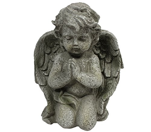 Dehner Dekofigur Engel kniend, ca. 21.5 x 17 x 9 cm, Polyresin, grau