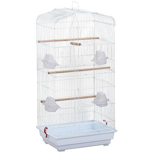 Yaheetech gabbia voliera bianca grande per uccelli pappagalli in metallo e legno 46 x 36 x 92 cm