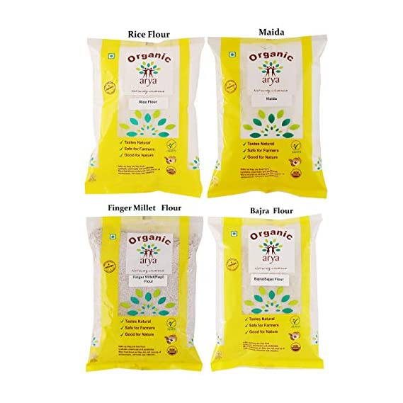Arya Farm Certified Organic Ragi Flour (Finger Millet) 500g Bajra Flour (Pearl Millet) 500g Rice Flour 500g Maida 500g Combo Pack (No Chemicals/No Pesticides/No Added Preservatives)