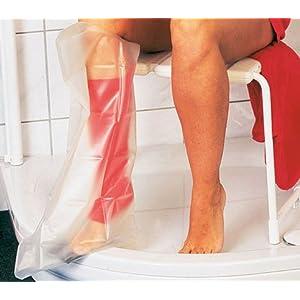 AQUASTOP – Oberschenkel, Erwachsene (99 cm) – wiederverwendbar Überzug für Verband Gips – Watertight bandage cast cover Duschschutz Gipsschutz Verbandschutz wasserdicht durchsichtig Wasserschutz Bein