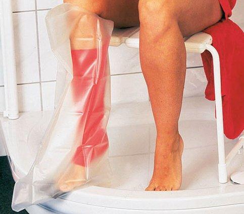 AQUASTOP - Unterschenkel, Kinder (58 cm) - wiederverwendbarer wasserdichter Überzug für Verband und Gips - mit rutschfester Sohle┇Reusable watertight, bandage and cast cover Duschschutz - Gipsschutz wasserdicht durchsichtig Gipsbein Gipschutz Wasserschutz auch für Fuß Füße