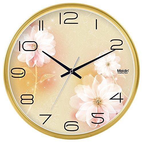 Komo classico ed elegante il quarzo orologio da parete grande silenzioso sweepso sweep soggiorno tavolo a muro orologio al quarzo orologio da parete camera da letto rotondo,8 pollici, oro di base