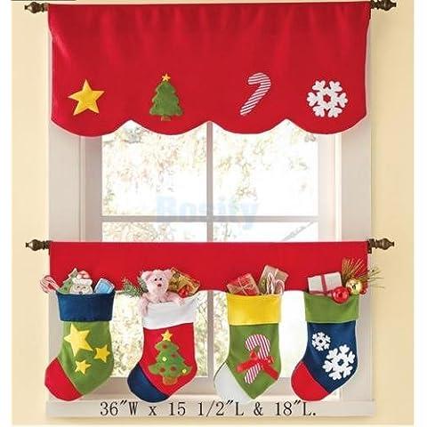2pcs Natale Calze Tenda finestra porta mantovana Pennant Bunting decorazione