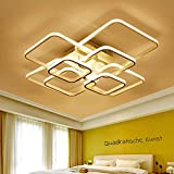 LED Deckenleuchte Wohnzimmerlampe Esszimmerlampe Deckenlampe Modern 8-flammig Eckig Design Acryl-Schirm Decken-Pendelleuchte Esstisch-Leuchten Schlafzimmer Küche Flur Beleuchtung,WarmesLicht3000K