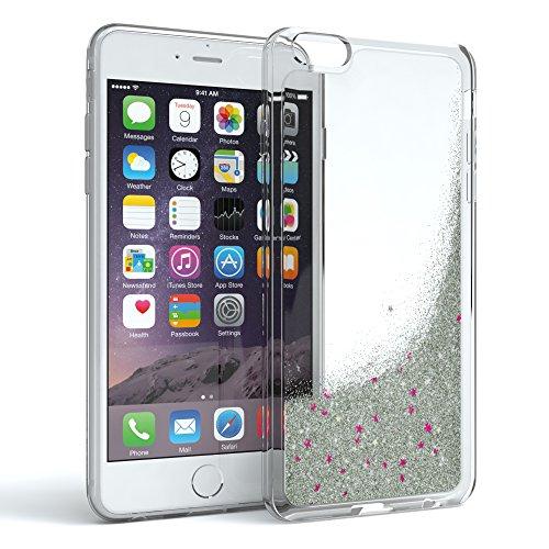 Apple iPhone 6 / 6S Schutzhülle mit Flüssig-Glitzer I von EAZY CASE I Handyhülle, Schutzhülle, Back Cover mit Glitter Flüssigkeit, aus TPU / Silikon, Transparent / Durchsichtig, Silber (I Phone 6 Case Glitzer-flüssigkeit)