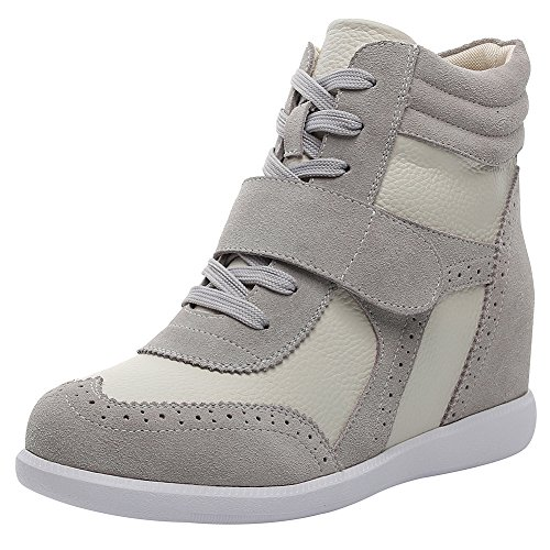 Rismart donna tacco a zeppa hook&loop brogue alto cima confortevole elegante sneaker scarpe sn8599a(grigio,eu37)