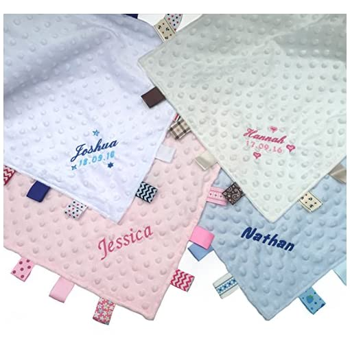 Personalised-Embroidered-Baby-Dimple-Comforter-Tags-Blanket-with-Name-Newborn-Boy-or-Girl