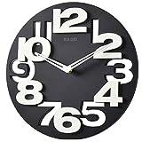 Winimo Horloge à grands chiffres 3D ou perforés pour la cuisine, horloge murale ronde - noir