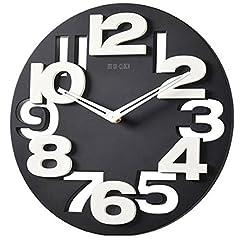 Idea Regalo - WINOMO Novità traforate 3D grandi cifre cucina Home Office Decor tondo orologio da parete a forma di orologio Art (nero)