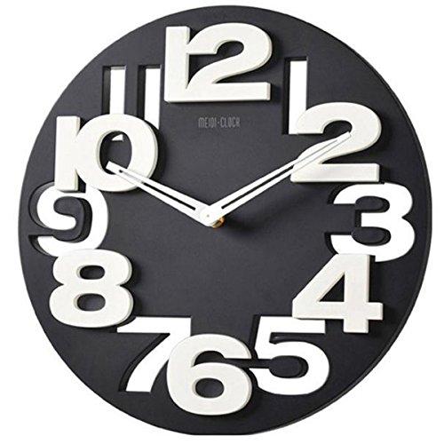 Winomo novità traforate 3d grandi cifre cucina home office decor tondo orologio da parete a forma di orologio art (nero)