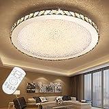 ETiME 36W Deckenleuchte mit Fernbedienung Kristall LED Dimmbar Ø42cm Deckenlampe Rund 2700K-6500K Wohnzimmer Schlafzimmer Esszimmer Lampe (36W Ø42cm dimmbar)