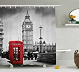 Abakuhaus Duschvorhang, Londoner Rote Telefonzelle mit Big Ben im Great Bell Touristen England Schwarz Weiß Rot, Blickdicht aus Stoff inkl. 12 Ringe für Das Badezimmer Waschbar, 175 X 200 cm