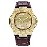 Hombres Techno Pave Hip Hop Iced out Bling Diamond Rapper's Gold Relojes