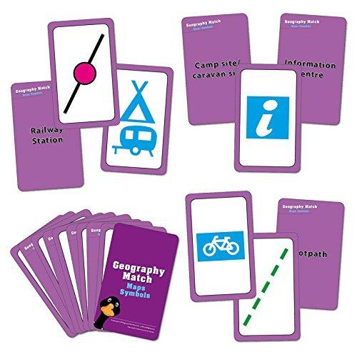 wildgoose Bildung wg1613Geographie Match Karte Symbol Spielkarte (44Stück)