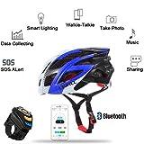 MTB mountainbikehelm Fahrradhelm mit integriertem Bluetooth Interkom Headset Walkie-Talkie Anruf MIC Blinklicht Unterstützung APP