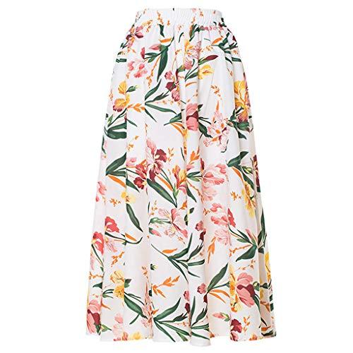CUTUDE Damen Röcke, Frauen Sommer Fashion Lady Hohe Taille A Linien Bohemian Blumen Bedruckter Flexibler Strandrock (Weiß, (School Girl Kostüme Billig)