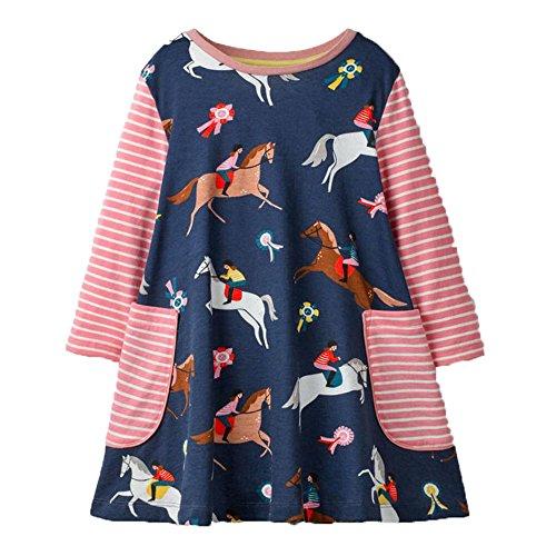 OHBABYKA Little Girls Cute Casual Baumwolle Tiere Gedruckt Streifen Langarm Playwear Kleid (5T, Colorful Horses)