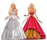 Hallmark QXI2787Celebration Holiday Barbie Ornament Set