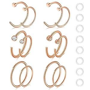 Zolure 12-16stk 20 Gauge Nasenpiercing Nasenring Hoop Piercing 316L Chirurgenstahl Piercing Set Schmuck
