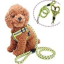 Ajustable perro arnés chaleco resistente Denim mascota reflectante formación Lead Leash Set en tamaño universal para todos los perros