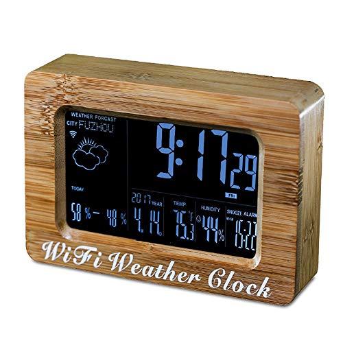 Réveil numérique Horloge de table pour salon de bureau, Smart product WiFi intelligent LCD réveil automatique avec fonction de prévision météorologique
