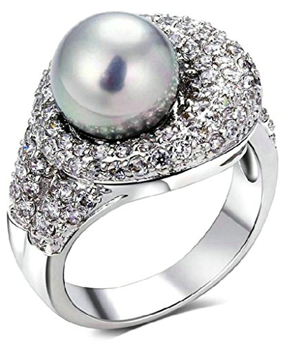 (Custom Ringe)Adisaer Vergoldet Damen Ringe in Gold Eheringe mit Gravur Grau Perle Zirkonia Verlobungsring Diamant Größe 52 (16.6) Grau